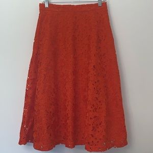 Banana Republic Lace Midi Flowing Skirt Sz 2